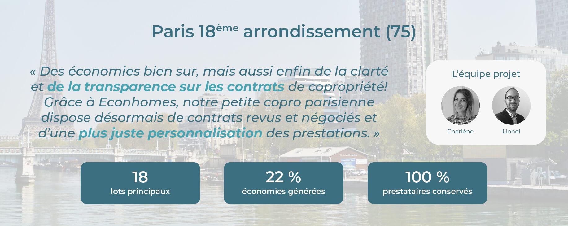 Avis Econhomes copropriété charges Paris 18 Ile de France